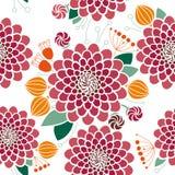 Безшовный цветочный узор, георгины Стоковые Изображения