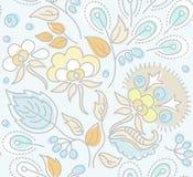 Безшовный, цветочный узор, желтые цветки, голубые ягоды, голубая предпосылка Иллюстрация вектора