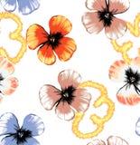 Безшовный цветочный узор иллюстрации с влиянием огня иллюстрация штока