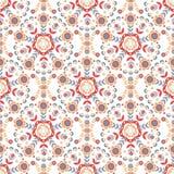 Безшовный цветочный узор круговых орнаментов Стоковое Изображение