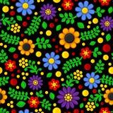 Безшовный цветочный узор на черной предпосылке вектор Стоковое Фото