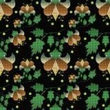 Безшовный цветочный узор на черной предпосылке Стоковое Изображение