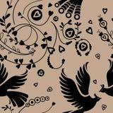 Безшовный цветочный узор, птицы Стоковое Изображение