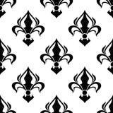 Безшовный цветочный узор с абстрактными черными лилиями иллюстрация штока