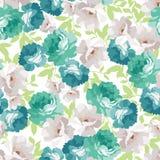 Безшовный цветочный узор с голубыми розами Стоковое Изображение