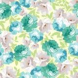 Безшовный цветочный узор с голубыми розами Стоковые Изображения