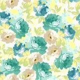 Безшовный цветочный узор с голубыми розами Стоковые Изображения RF