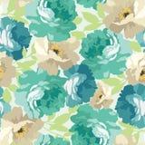 Безшовный цветочный узор с голубыми розами Стоковая Фотография