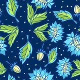 Безшовный цветочный узор с голубыми цветками Стоковое Изображение RF