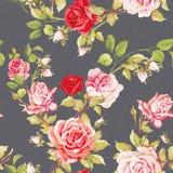 Безшовный цветочный узор с красными розами Иллюстрация вектора