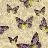 Безшовный цветочный узор с красочными бабочками, рук-чертеж Стоковое фото RF