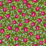 Безшовный цветочный узор с маленькими красными розами Стоковые Изображения
