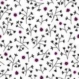 Безшовный цветочный узор с малыми цветками Бесконечная белая предпосылка Стоковые Изображения RF