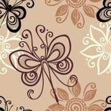 Безшовный цветочный узор с насекомыми (вектор) Стоковое Изображение RF