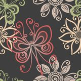 Безшовный цветочный узор с насекомыми (вектор) Стоковая Фотография RF