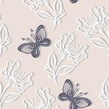 Безшовный цветочный узор с насекомыми (вектор) Стоковое Изображение