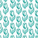 Безшовный, цветочный узор с печатью тюльпанов Стоковые Изображения RF