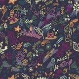 Безшовный цветочный узор с птицей и котом Стоковое Изображение