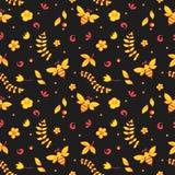 Безшовный цветочный узор с пчелами, мед, цветки, крапивница и другое возражают Khokhloma Стоковые Фото