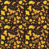 Безшовный цветочный узор с пчелами, мед, цветки, крапивница и другое возражают Стоковые Изображения