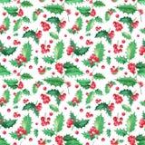 Безшовный цветочный узор с рождеством падуба иллюстрация штока