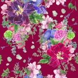 Безшовный цветочный узор с тюльпанами, ветреницами, гортензией, евкалиптом и листьями, картиной акварели Стоковые Изображения RF