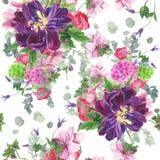 Безшовный цветочный узор с тюльпанами, ветреницами, гортензией, евкалиптом и листьями, картиной акварели Стоковое фото RF