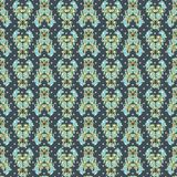 Безшовный цветочный узор с тюльпанами, маками и лилиями Сложная печать вектора в сини, aqua, пинке и желтом иллюстрация штока