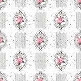Безшовный цветочный узор с цветками, акварель также вектор иллюстрации притяжки corel Стоковая Фотография