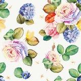 Безшовный цветочный узор с цветками гортензии и красивыми розами Иллюстрация вектора