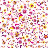 Безшовный цветочный узор с цветками и листьями Стоковые Изображения RF