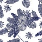 Безшовный цветочный узор с цветками и тропическими листьями стоковые фотографии rf
