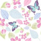Безшовный цветочный узор с bbutterfly Стоковые Изображения