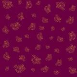 Безшовный цветочный узор с handdrawn золотом элементов на темноте - красной предпосылке иллюстрация штока
