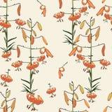 Безшовный цветочный узор тропических оранжевых лилий цветки вручают покрашено Изолировано на желтой предпосылке иллюстрация вектора