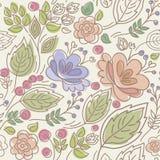 Безшовный, цветочный узор, цвет, листь, ягода, хворостина, и цветок Иллюстрация штока