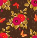 Безшовный цветочный узор - цвет шоколада Стоковые Фотографии RF