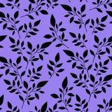 Безшовный цветочный узор, черные листья на предпосылке для печатания  иллюстрация штока