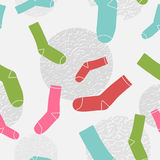 Безшовный цвет socks картина с треснутыми кругами Стоковые Фото