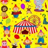 Безшовный цирк картины с клоуном и животными иллюстрация вектора