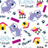 Безшовный шарж картины, котенка и улитки смешной животный, иллюстрация вектора стоковое изображение rf