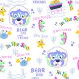 Безшовный шарж картины, медведя и маленького друга смешной животный, иллюстрация вектора стоковые изображения