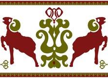 Безшовный этнический орнамент с стилизованным aries Стоковое Изображение RF