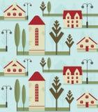 Безшовный элемент картины Милые дома с красными крышами, уличными фонарями и деревьями бесплатная иллюстрация