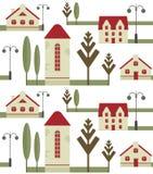 Безшовный элемент картины домов с красными крышами, уличными фонарями и деревьями иллюстрация штока