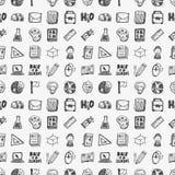 Безшовный doodle назад к предпосылке картины элемента школы Стоковое Фото