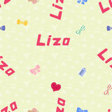 Безшовный Liza имени картины предпосылки newborn Стоковые Изображения