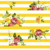 Безшовный striped цветочный узор стиля также вектор иллюстрации притяжки corel Стоковые Изображения RF