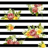 Безшовный striped цветочный узор стиля также вектор иллюстрации притяжки corel Стоковые Изображения