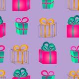 Безшовный surround картины красочные подарочные коробки с смычками иллюстрация вектора